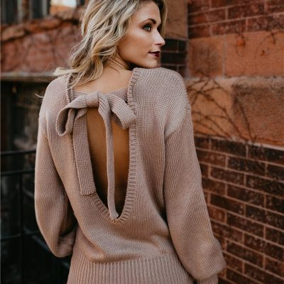 Women's Long Sleeve O-neck,  Backless Lace-up Bow Pullover Sweater, Autumn Winter Lady Jumper Top