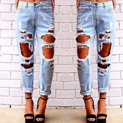 Boyfriend Hole, Ripped Jeans, Women's Cool Denim Vintage Straight Jeans, Mid Waist Casual Jeans