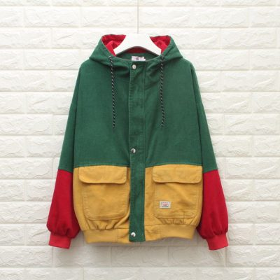 Winter Warm Color Block Hooded Corduroy Jacket Drawstring Hit Color Patched Pocket Thick Basic Women Coat