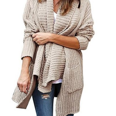 Turn-Down Irregular, Women's Cardigan Long Sleeve Knitted Sweater, Long Cardigans