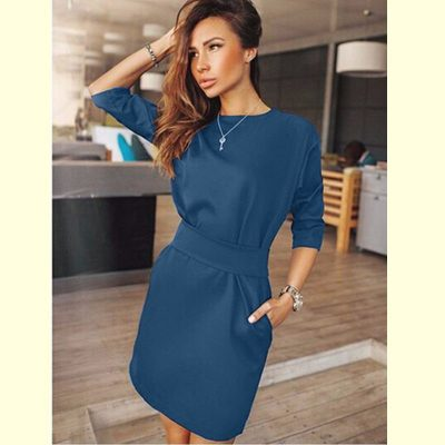 Casual Half Sleeve Straight Dress, Women's Pocket O-neck Batwing Sleeve Mini Dress