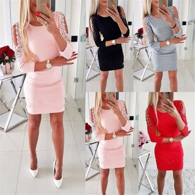 Fashion Women's Shoulder With Lace, Casual, Vintage Sexy Bodycon Mini Dress, O-neck Elegant Party Dress