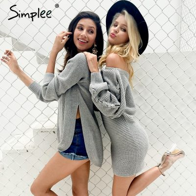Sexy Sweater Dress, Women's Casual O-Neck, Batwing Sleeve Knitted Dress