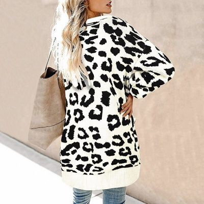 LOGAMI Vintage Leopard Women Long Cardigan 2019 Autumn Winter Casual Single Breasted Knitted Sweater Coat 1