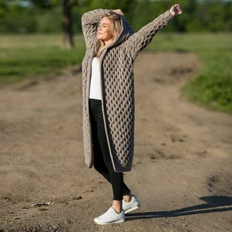 New Arrival Fashion Women's Hooded Thick Knitted Sweater Cardigan Coat Long Sleeve Winter Warm Hooded Cloak Plus Size S-5XL 2
