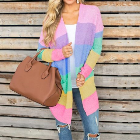Autumn Sweater Women Long Sleeve Patchwork Knitted Open Front Rainbow Striped Cardigan Women Coat sueter mujer invierno 2019 2