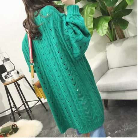 SVOKOR Cardigan Women Long Sleeve Trend Hollow Women's Knitted Sweater Loose Leisure Plus Size Cardigan 2