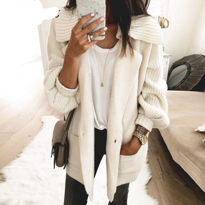 Melegant Pocket Solid White Cardigans Women Winter 2019 Cardigans Ladies Knitted Casual Cardigans Knitwear