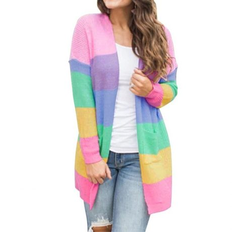 Autumn Sweater Women Long Sleeve Patchwork Knitted Open Front Rainbow Striped Cardigan Women Coat sueter mujer invierno 2019
