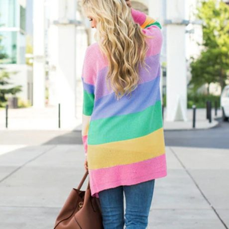 Autumn Sweater Women Long Sleeve Patchwork Knitted Open Front Rainbow Striped Cardigan Women Coat sueter mujer invierno 2019 4