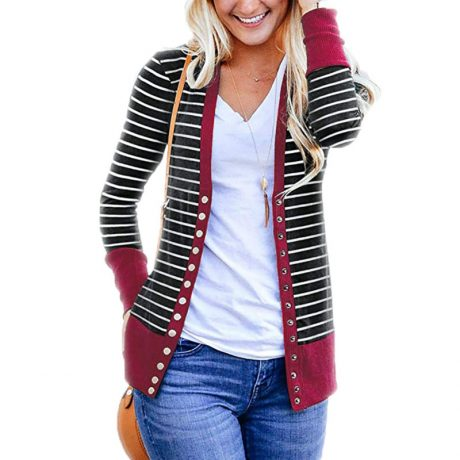 Striped Cardigan Women Sweater Long Sleeve V Neck Casual Knitted Cardigans Mujer 2019 Spring Autumn Winter Female Coat Plus Size 2