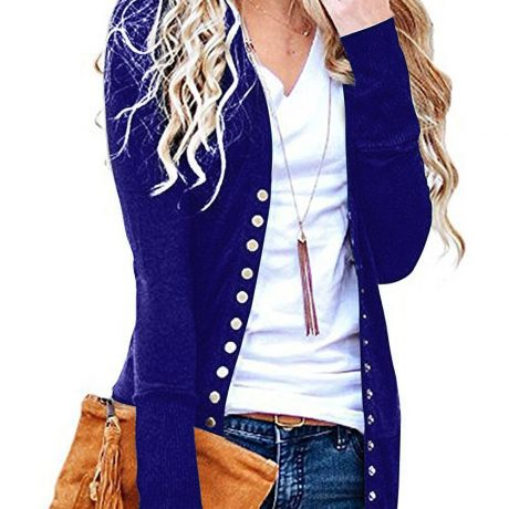 2019 Knitted Cardigan Women Long Sleeve V Neck Solid Color Sweater Metal Button Single-breasted Coat 3