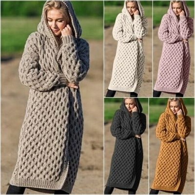 New Arrival Fashion Women's Hooded Thick Knitted Sweater Cardigan Coat Long Sleeve Winter Warm Hooded Cloak Plus Size S-5XL