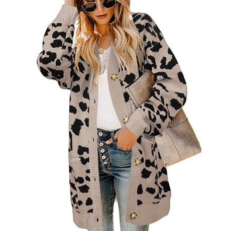 LOGAMI Vintage Leopard Women Long Cardigan 2019 Autumn Winter Casual Single Breasted Knitted Sweater Coat 2