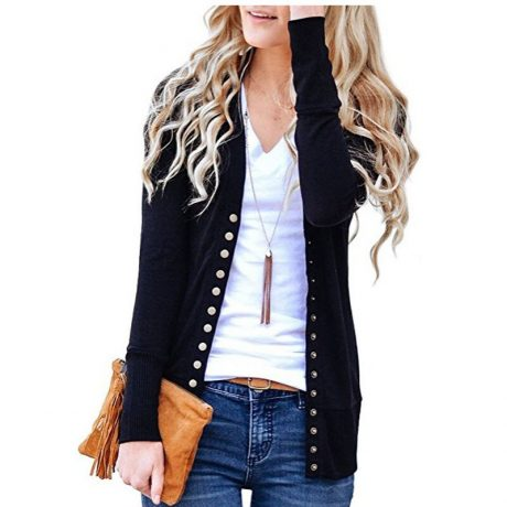 2019 Knitted Cardigan Women Long Sleeve V Neck Solid Color Sweater Metal Button Single-breasted Coat 1