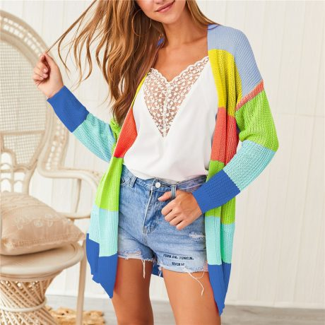 Autumn Sweater Women Long Sleeve Patchwork Knitted Open Front Rainbow Striped Cardigan Women Coat sueter mujer invierno 2019 3