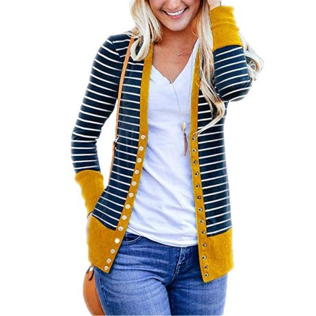 Striped Cardigan Women Sweater Long Sleeve V Neck Casual Knitted Cardigans Mujer 2019 Spring Autumn Winter Female Coat Plus Size